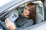 Teen Girl Driving Car While Texting - 177223700