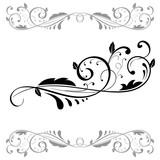 Floral ornament. Set of black dividers - 177226160