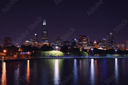 Chicago night skyline, Usa. Poster