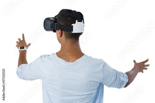 Man using virtual reality headset Poster