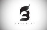 B Letter Wings Logo Design with Black Bird Fly Wing Icon.