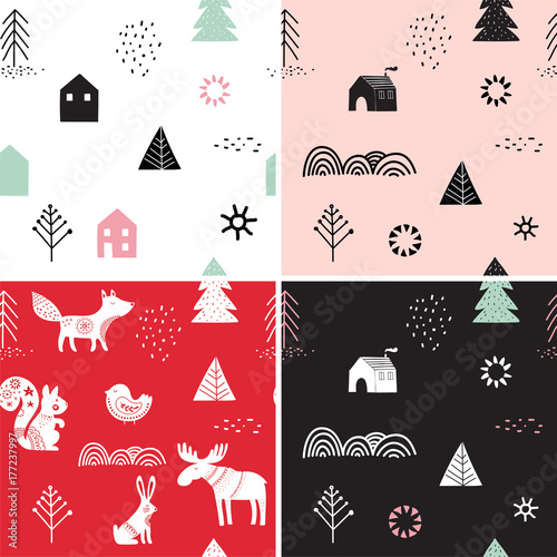 Poster Christmas, winter seamless patterns set, hand drawn elements in Scandinavian sty