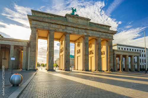 The Brandenburg Gate in Berlin at sunrise, Germany Poster