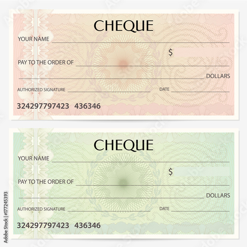 Money Design Template | Check Cheque Chequebook Template Guilloche Pattern With
