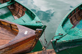 Old boats on a mountain lake - 177246195