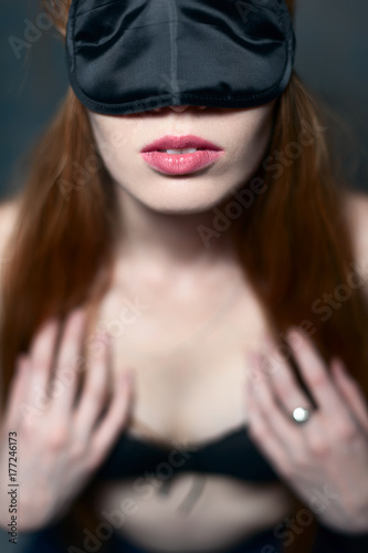 Sexy woman with whip and mask, bdsm Poster