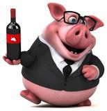 Fun Pig  3d Illustration Wall Sticker