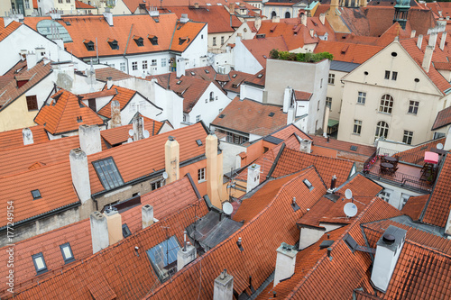 Red roofs of old buildings at the Mala Strana District (Lesser Town) in Prague, Czech Republic, viewed from above Poster