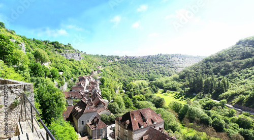 Foto op Canvas Olijf Rocamadour. Vue panoramique sur le village. Lot. Occitanie