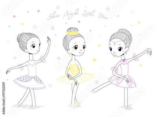 hand drawn vector illustration of cute little ballerina girls in