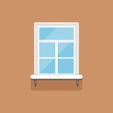 Flat window with decorative facade cornice on brown wall - 177255132