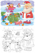 New Year. Christmas. Year of Dog. Cute Santa and his backpack. Christmas card. Poster. Coloring page