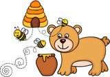 Bear with honey pot and bees fly out of a beehive