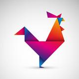 kogut origami wektor - 177258586