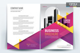Brochure Cover Layout with purple and yellow , A4 Size Vector Template