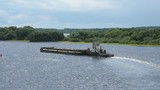 Top view of seascape - empty barge without cargo float along the river in summer sunny day - 177260347