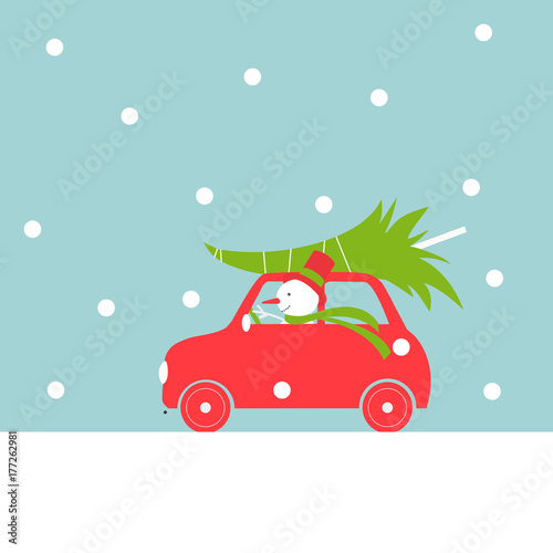 Fotobehang Auto Christmas card with car and snowman. Vector illustration.