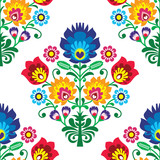 Seamless folk art vector pattern - Polish traditional repetitive design with flowers - 177264760