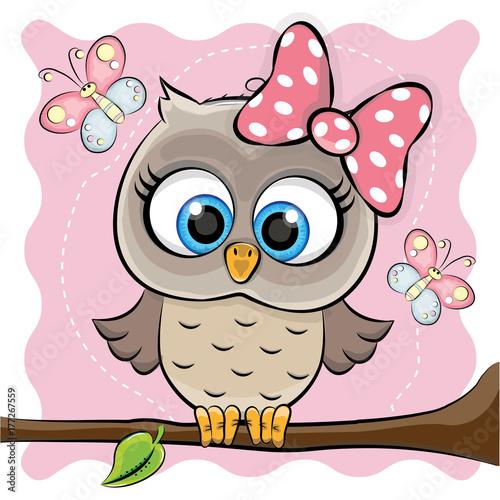 Foto op Plexiglas Uilen cartoon GIRL OWL