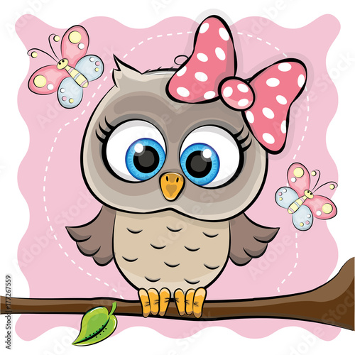 Foto op Canvas Uilen cartoon GIRL OWL