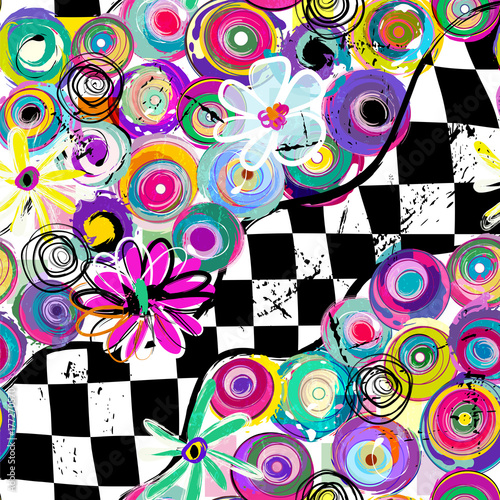 Fotobehang Abstract met Penseelstreken abstract background pattern, with circles, squares, strokes and splashes, seamless, black and white