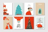 Hand drawn vector abstract fun Merry Christmas time cartoon cards collection set with cute illustrations,surprise gift boxes ,Christmas tree and modern calligraphy isolated on white background - 177275962