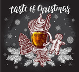 Taste of Christmas. Warming drink with cinnamon sticks and gingerbread on spruce branches. Template for cards, invitations, posters, flyers. Hand-drawn vector illustration with modern brush lettering. - 177276786