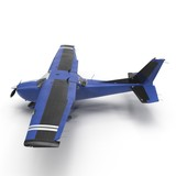 Small blue private airplane isolated on white. 3D illustration - 177281340