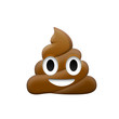 Brown feces with eye and mouth icon