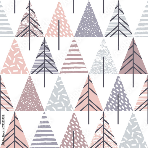 Cotton fabric Abstract geometric seamless repeat pattern with christmas trees.