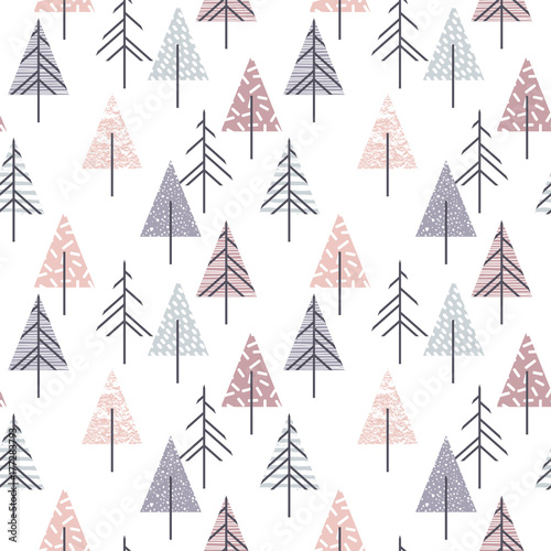 Fototapeta Abstract geometric seamless repeat pattern with christmas trees.