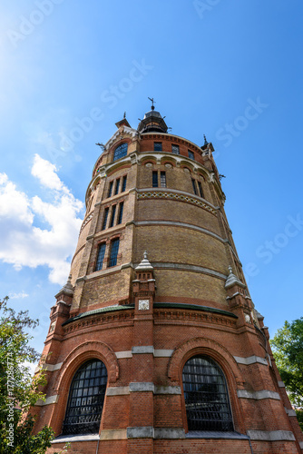 Color image of the water tower Favoriten in Vienna, Austria, on a sunny day with Poster