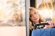 pensive girl in bus