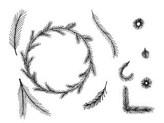 Set of doodle hand drawn seamless borders on white background. Christmas, New Year holiday decor elements. © kozhevnikofa