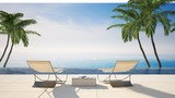 Two lounge chairs in a tropical destination - 177288967