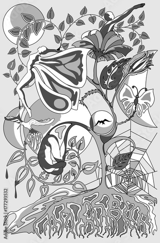 Tuinposter Draw Metamorphosis and Connections Surreal Conceptual Art