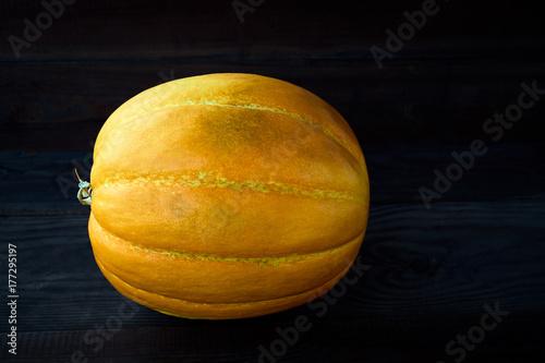 Yellow melon on dark wooden background