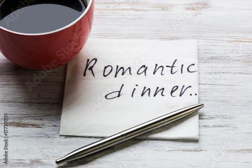 Romantic message written on napkin Poster