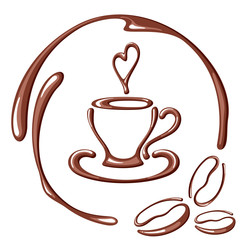 Vector illustration with coffee cup, coffee beans, heart and round frame. Suitable for cafe, coffee shop, coffee house or poster