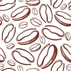 Vector seamless pattern with coffee beans on a white background
