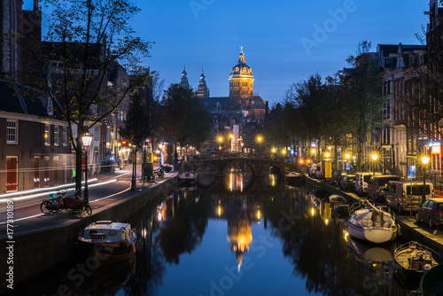 Basilica of St Nicholas Amsterdam Reflection Night Poster