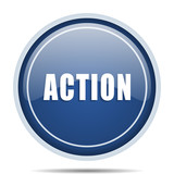 Action blue round web icon. Circle isolated internet button for webdesign and smartphone applications. - 177314376