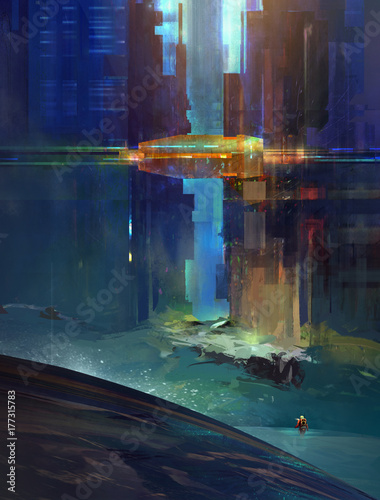 Sketch fantastic city with the researcher. The urbanized landscape of the future. Cyberpunk. © khius