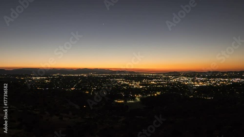San Fernando Valley sunrise time lapse with zoom in Los Angeles, California.