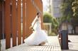 outdoor portrait of asian bride