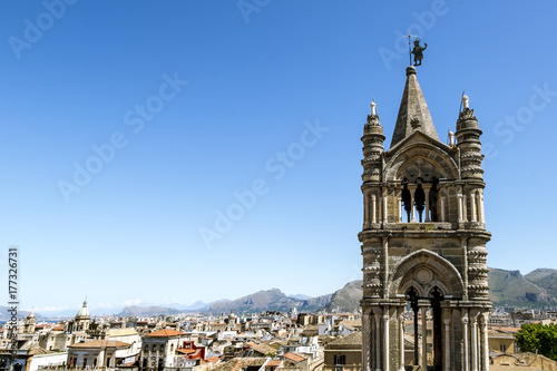 Aluminium Palermo View of the historic centre and Cathedral from the roof in Palermo. Sicily