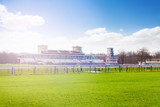 Chantilly racecourse with stands at sunny day - 177329766
