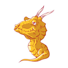 Colorful vector illustration of a cutre cartoon baby dragon