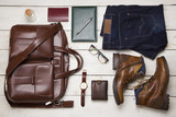Set of men's clothing and accessories. Hipster concept - 177339561