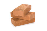 Solid clay bricks used for construction,Old red brick isolated on white background. Object isolated - 177340727